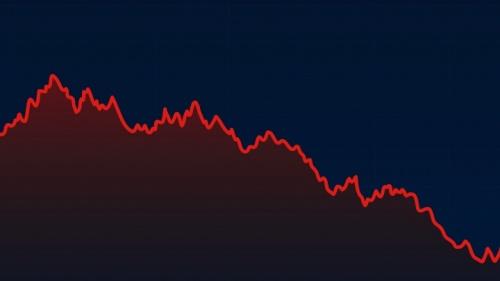 Um gráfico com uma tendência descendente.