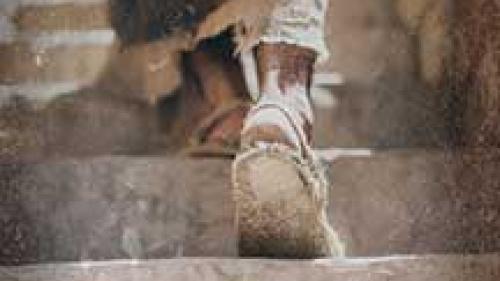 Feet on steps