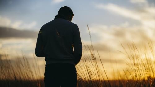 Uma pessoa num campo ao pôr do sol.