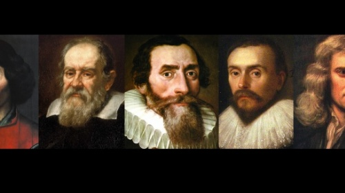 Nicolaus Copérnico, Galileo Galilei, Johann Kepler, William Harvey e Sir Isaac Newton.