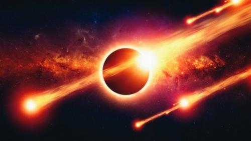 Bolas de fogo atravessando o espaço.