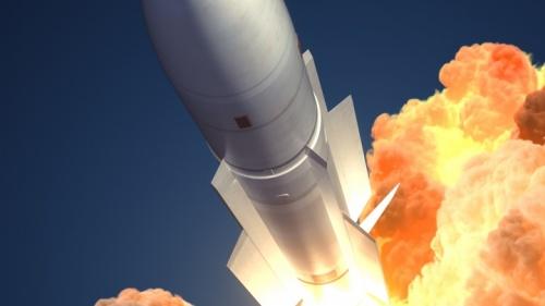 Uma ilustração de um míssil voando no céu.