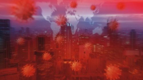 Um gráfico visual de vírus e paisagens da cidade.