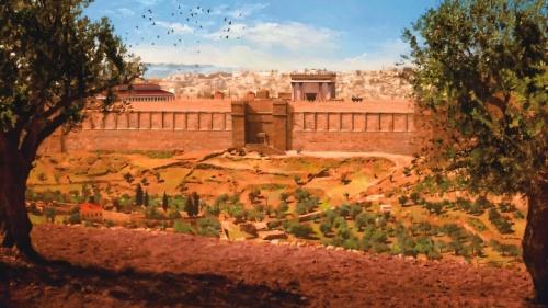 Pintura do templo por um artista.