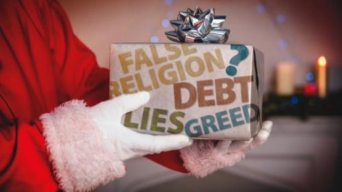 Um Papai Noel segurando um presente.