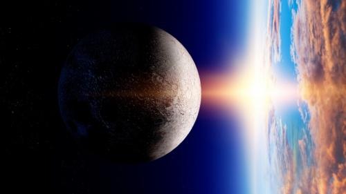 Ilustração artística dum raio de sol atingindo a terra.