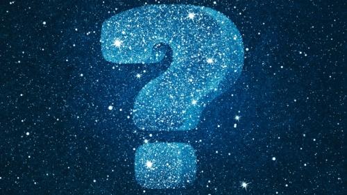 Um sinal de pergunta no céu.