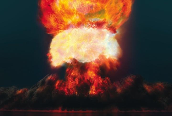 Uma explosão formando uma nuvem de cogumelo.