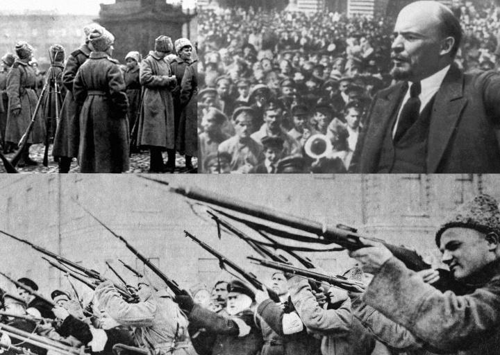 Cenas da revolução russa de 1917 que causou uma aquisição comunista.