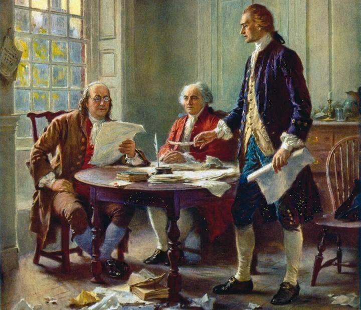 Interpretação artística de Benjamin Franklin, John Adams e Thomas Jefferson, elaborando a Declaração de Independência.