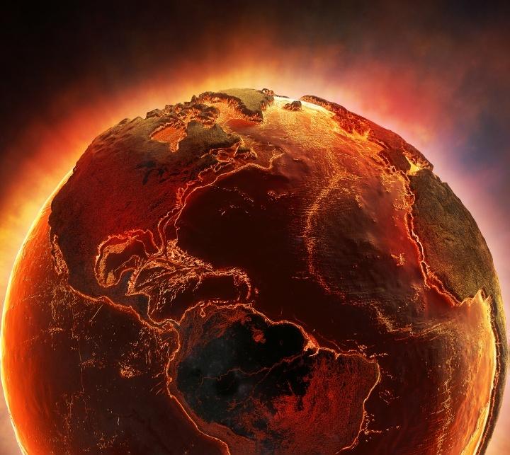 Uma representação artística da Terra em chamas.