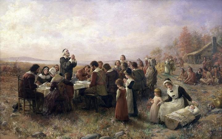 Uma representação artística de uma refeição dos peregrinos.