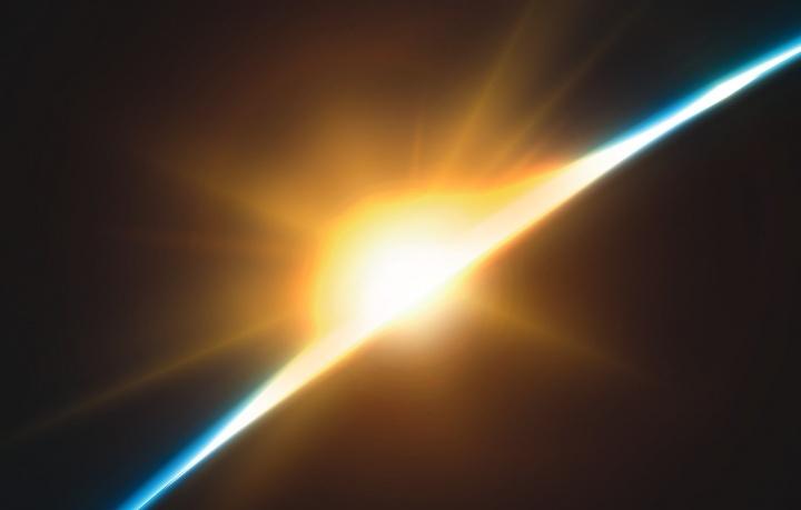 Raios de sol brilhando pela terra.