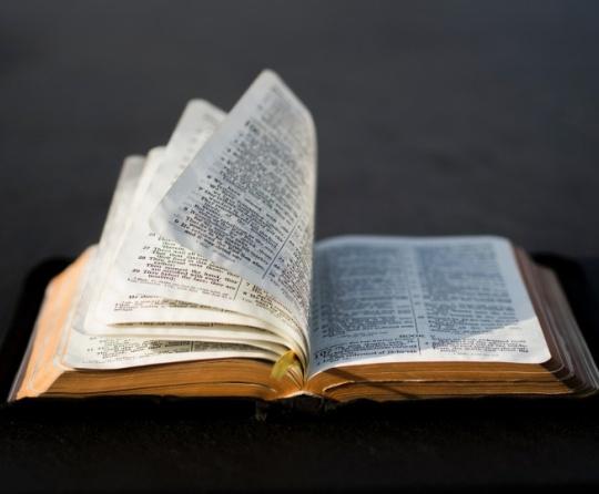 Páginas da Bíblia sendo viradas.