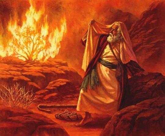 Rendição artística do EU SOU aparecendo perante Moisés na sarça ardente.